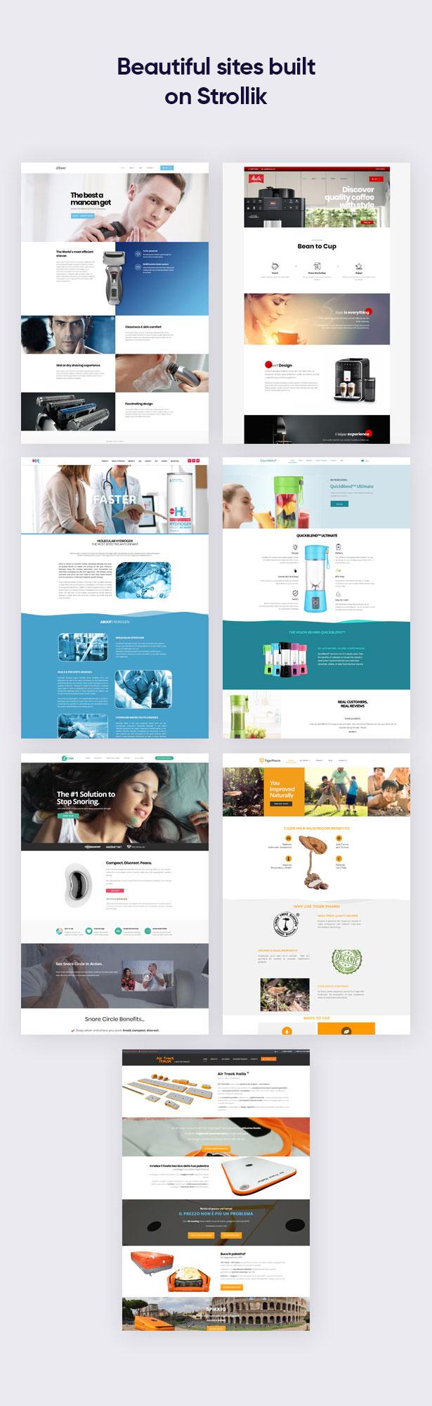 Beautiful sites built on Strollik Single Product WordPress Theme
