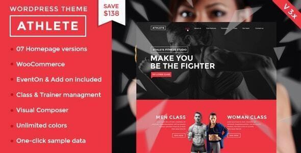 Athlete Fitness   Gym and Sport WordPress Theme