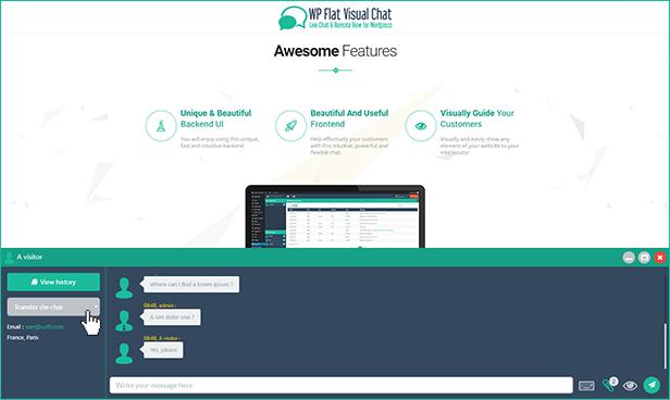 WP Visual Chat transfer easily chats between operators