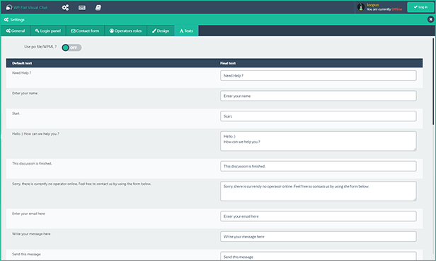 WP Visual Chat remote change texts directly from backend