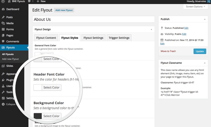 Flyouts - Off Canvas Custom Content for WordPress - 4