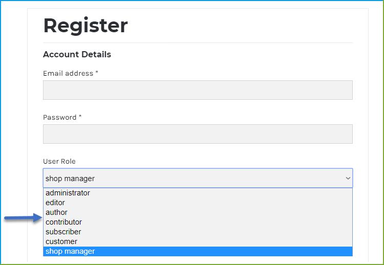 Custom Role -WooCommerce Registration Fields - Enable User Roles
