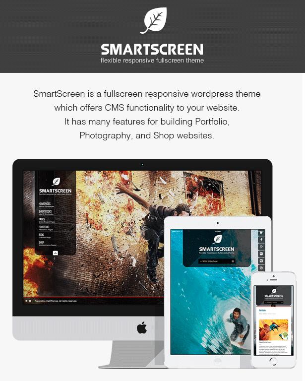 SmartScreen fullscreen responsive WordPress theme - 2