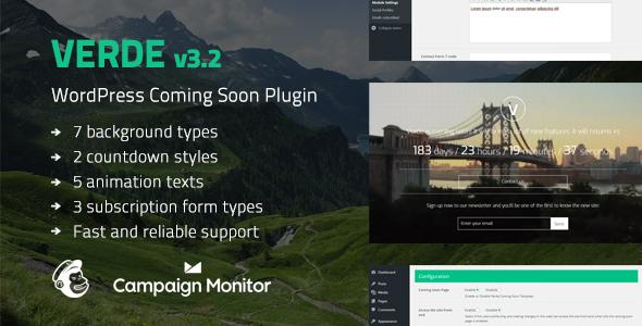 Verde - Responsive WordPress Coming Soon Plugin