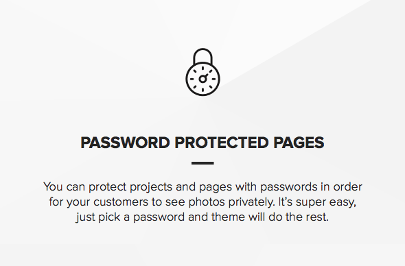 Theme with password protection for photos