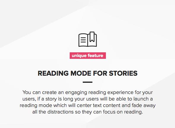 Unique reading mode feature