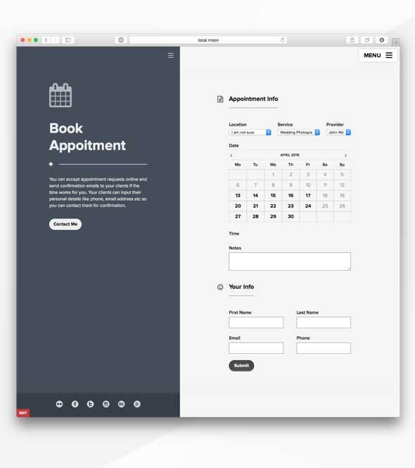 Booking appointment template for wordpress