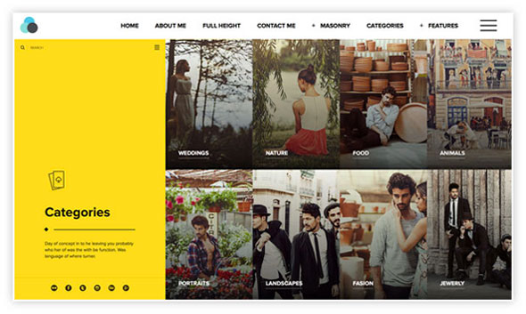 Wordpress theme for photographers with menu on top