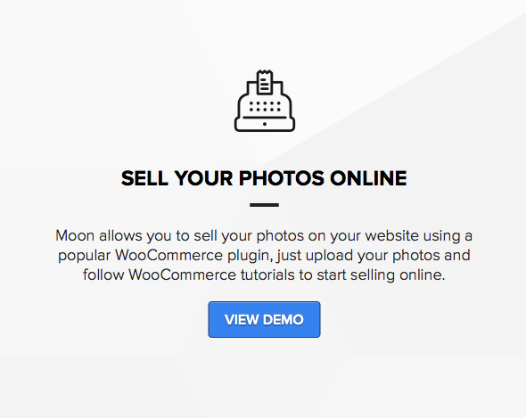 Theme for photographers to sell photos