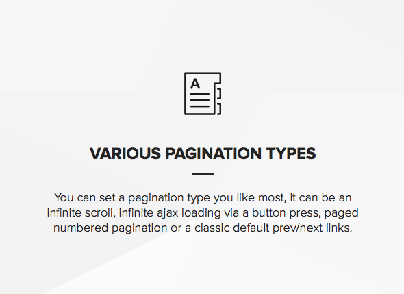 Wordpress theme with multiple pagination types