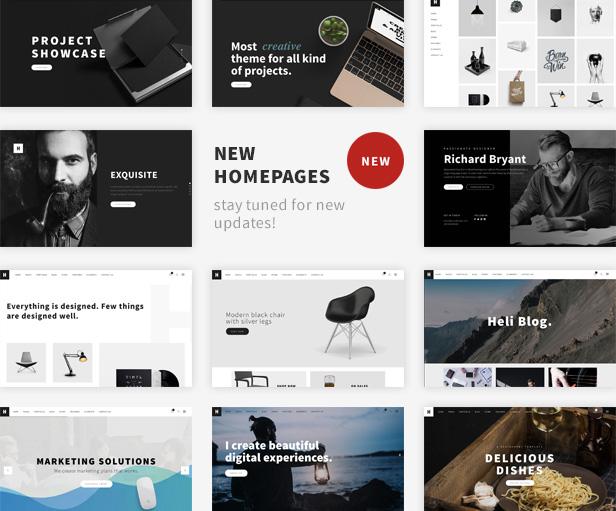 Minimal Creative Black and White WordPress Theme -  New Homepages