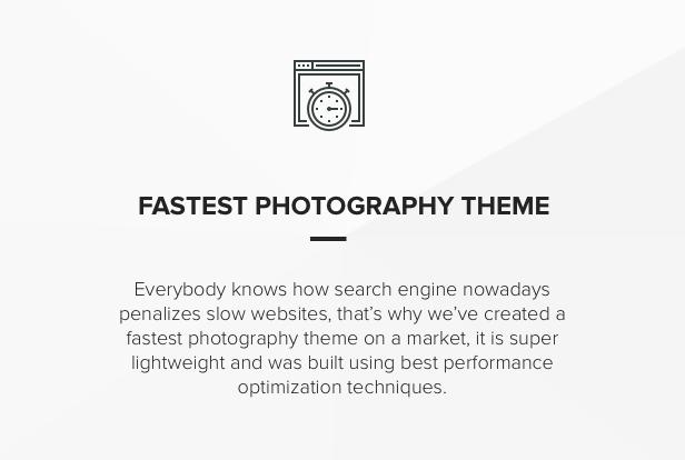Fast Performance speed portfolio Theme for photographers