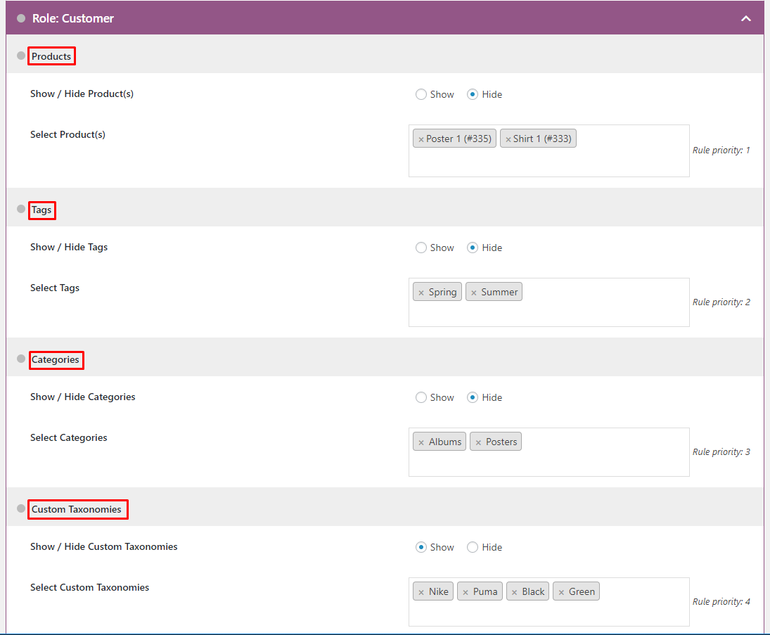 WooCommerce Hide Products, Categories, Prices, Payment and Shipping by User Role - 6