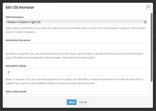 CSS Animator properties in WPBakery Page Builder