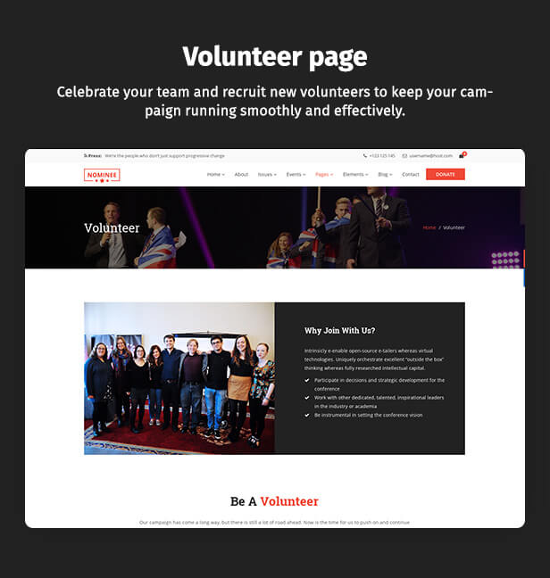 Political WordPress Theme Volunteer