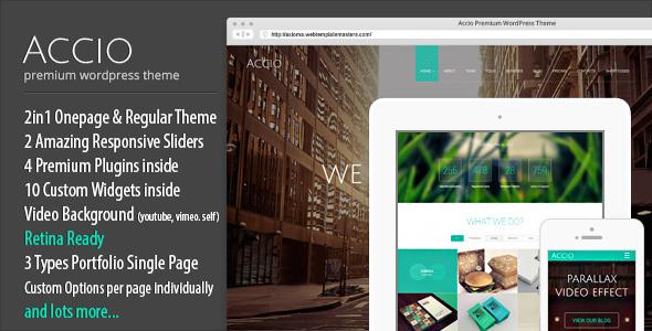 Accio   Responsive Onepage Parallax Agency WordPress Theme