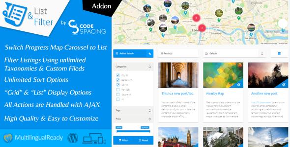 Progress Map, List & Filter - WordPress Plugin