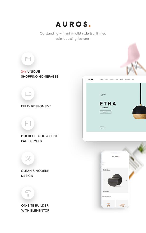 Auros Modern & Minimal Furniture WordPress Shopping Theme
