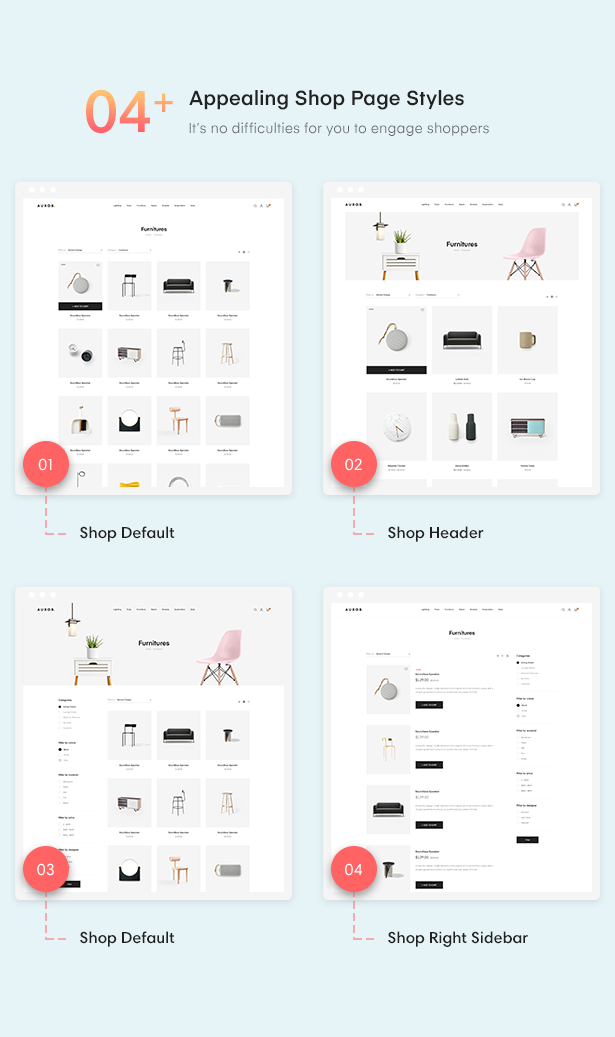 24+ 04+ Appealing Shop Page Styles of Auros Furniture Elementor WooCommerce Theme