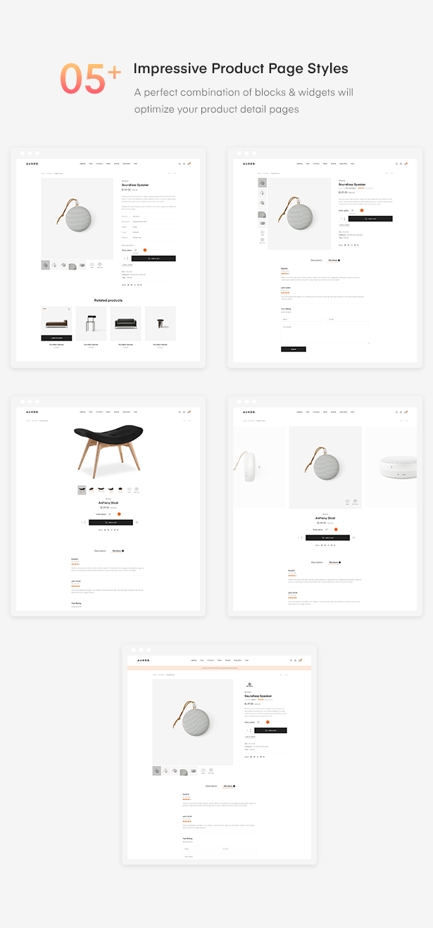 05+ Impressive Product Page Styles of Auros Furniture Elementor WooCommerce Theme