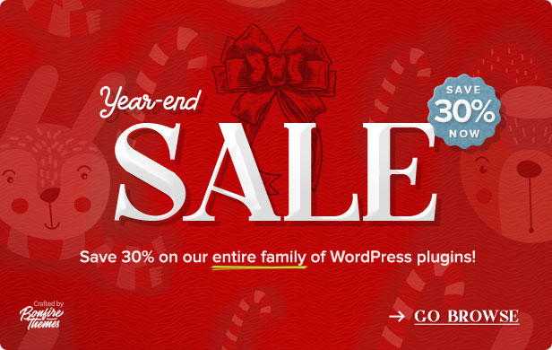 Year-end Sale. Save 30% on all BonfireThemes WordPress plugins.