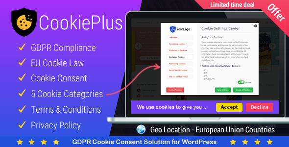 Cookie Plus GDPR - Cookies Consent Solution for WordPress. Master Popups Addon