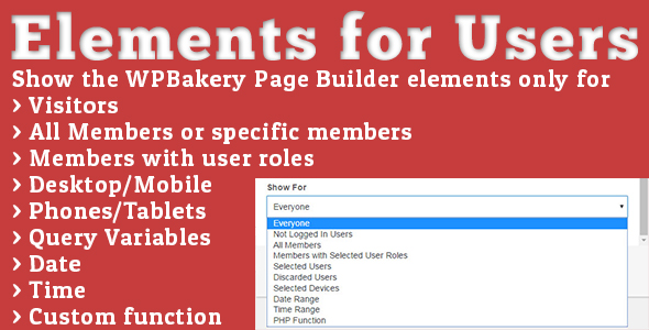 Elements for Users - Addon for WPBakery Page Builder