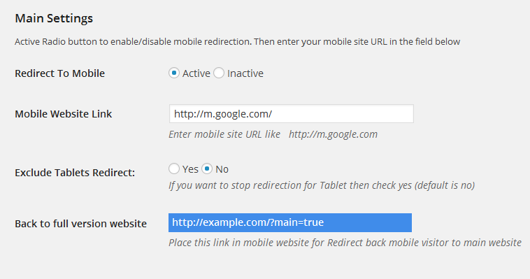 RedirectPlus - WordPress Mobile Redirect Plugin - 1