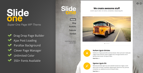 Slide One - One Page Parallax, Ajax WP Theme