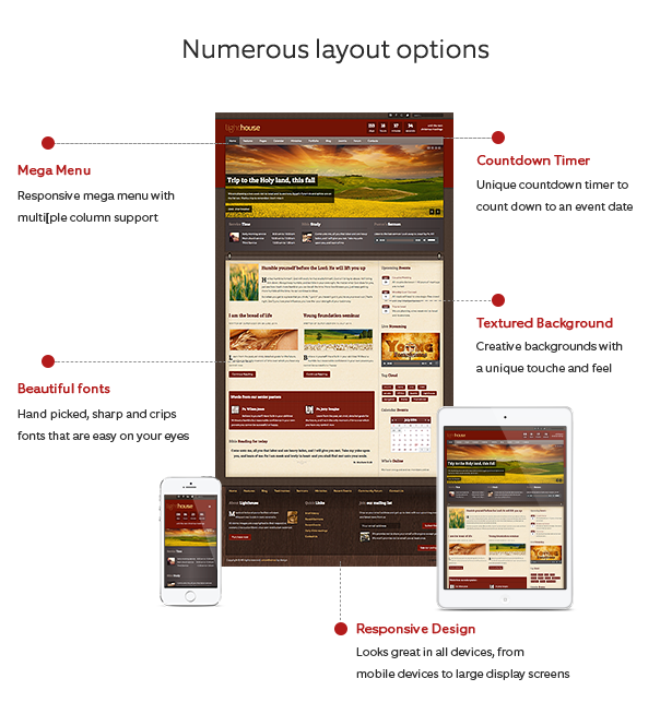 Lighthouse Joomla Template is built with many layout options