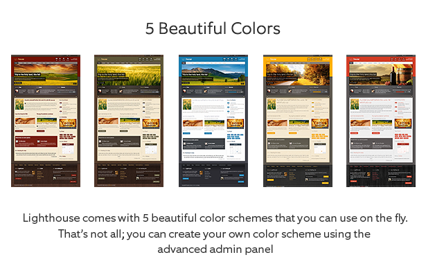 Lighthouse Joomla Template is built with 6 beautiful colors