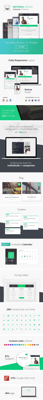 Material design resume cv html