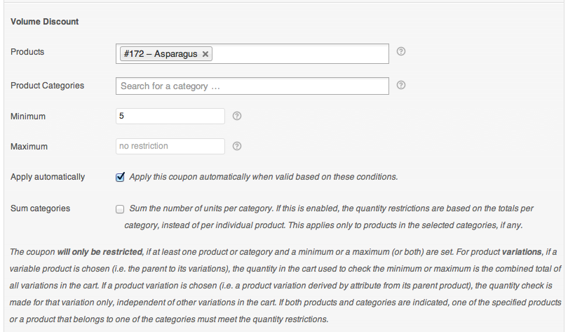 Volume Discount Coupon Restriction Settings