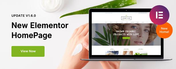Organic Store Elementor Homepage
