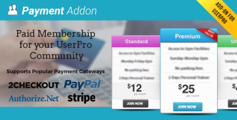 Payment Addon for UserPro