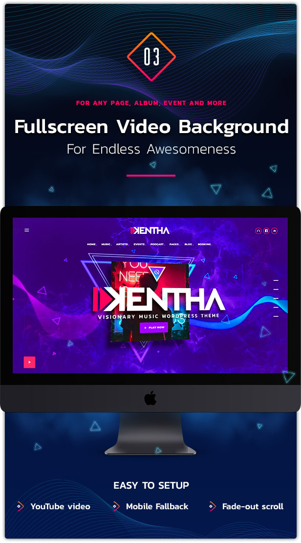 Fullscreen video background WordPress