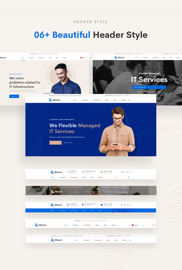 IT Solutions Mitech - Technology, IT Solutions & Service WordPress Theme - Header Styles
