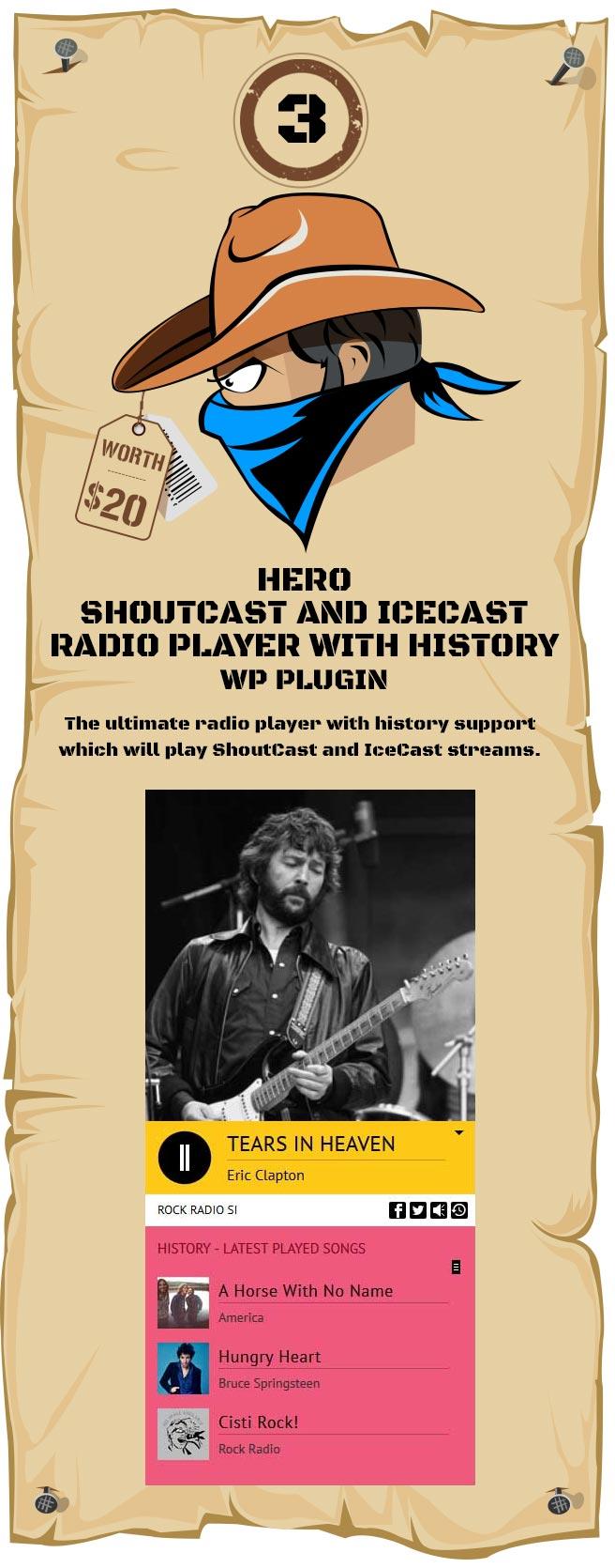 Hero - Shoutcast and Icecast Radio Player With History - WordPress Plugin