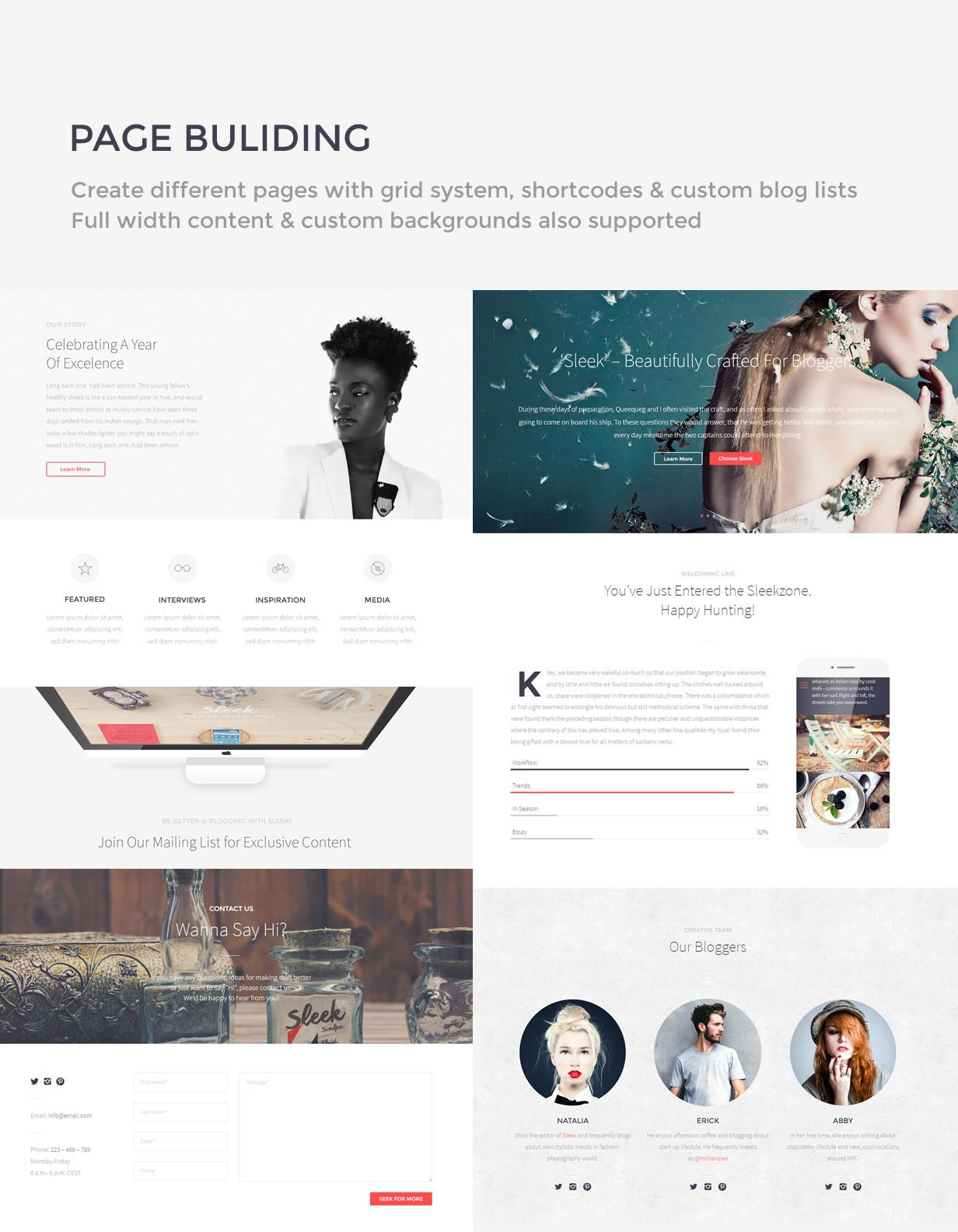 Sleek Theme Page Building