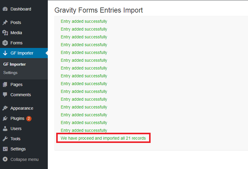 Number of rows imported