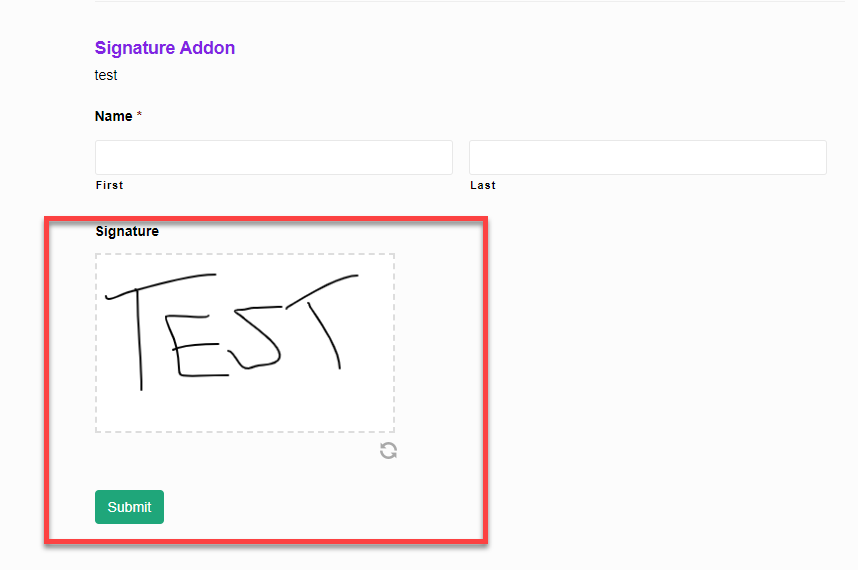 Signature Addon front end