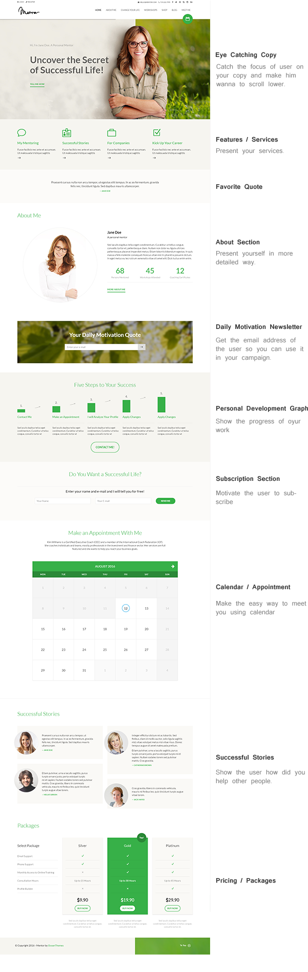 Mentor - Personal Development Coach WordPress Theme for made coaches, trainers, therapist or other profession