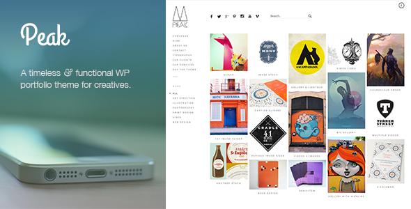 Peak: a popular and exquisitely made responsive WordPress portfolio theme with a sidebar menu