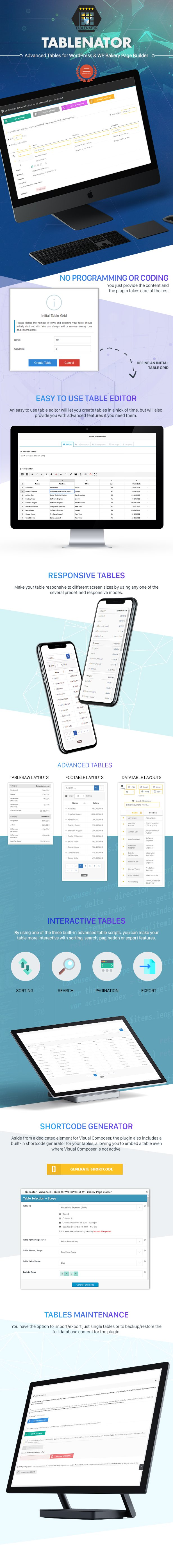 Tablenator - Advanced Tables for WordPress & WP Bakery Page Builder - 1