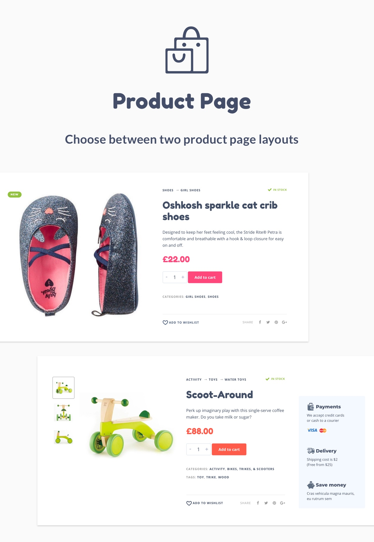Two product page layouts