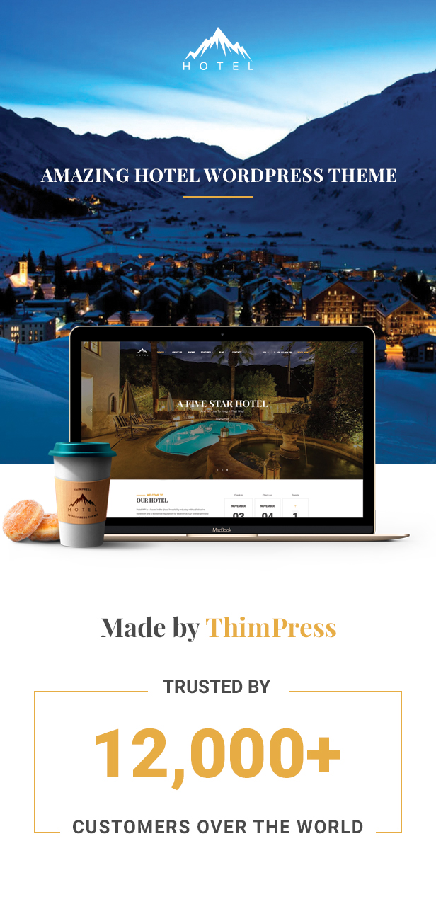 Hotel WordPress theme - Trusted by 12k customers