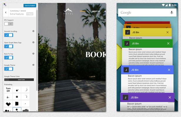 Hotel WordPress theme - customize