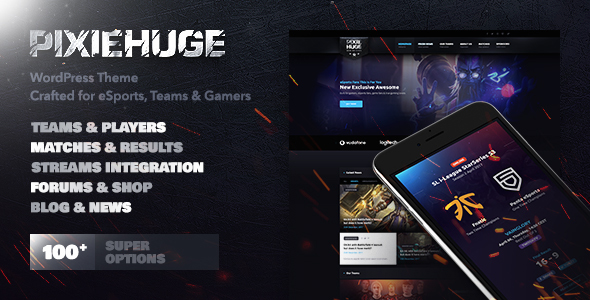 PixieHuge   eSports Gaming Theme For Clans & Organizations