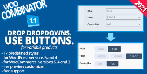 WooCombinator for variable products - Turn your boring dropdowns into buttons!
