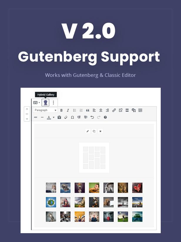 Hybrid Gallery - Gutenberg Support